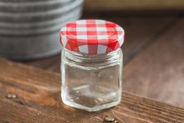 Słoiczek szklany 6-kątny na przyprawy 80 ml mix kolorów