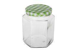 Słoiczek szklany 6-kątny na przyprawy 400 ml mix kolorów