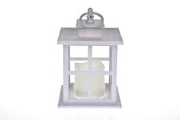 Latarnia LED tworzywo sztuczne h-18 cm biała