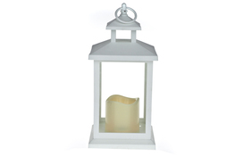 Latarnia LED tworzywo sztuczne h-30 cm biała