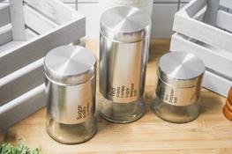 Komplet 3 pojemników na kawę, cukier, herbatę