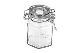 Słoiczek szklany z klipsem 80 ml sześciokątny