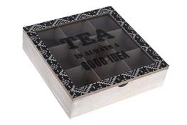 KOOPMAN Pudełko drewniane na herbatę 24.3 x 24.3 x 6.3 cm mix