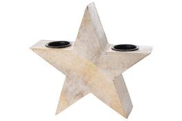 KOOPMAN Świecznik drewniany gwiazda 22.5 cm