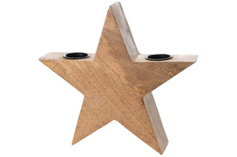 KOOPMAN Świecznik drewniany gwiazda 28 cm