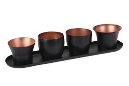 KOOPMAN Komplet 4 świeczników z podstawą 28 x 6 cm