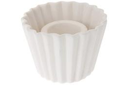 KOOPMAN Świecznik ceramiczny foremka biały 7 cm