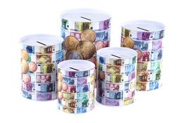 Puszka skarbonka banknot komplet 5 sztuk różne wielkości