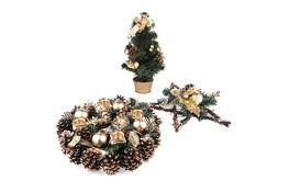 Komplet ozdób świątecznych - choinka, wieniec, stroik