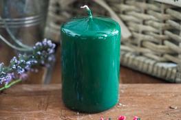 ADPAL Świeca klasyczna klubowa 9 cm lakier choinkowa zieleń