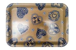 Vivenzi Taca z melaminy 38 x 27 cm BLUE HEART prostokątna