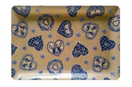 Vivenzi Taca z melaminy 50 x 37 cm BLUE HEART prostokątna