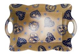 Vivenzi Taca z melaminy 53 x 38 cm BLUE HEART pofalowana