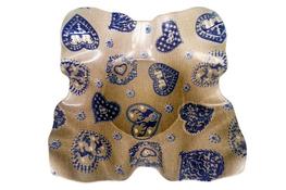 Vivenzi Taca z melaminy 30.5 cm BLUE HEART na owoce pofalowana