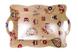 Vivenzi Taca z melaminy 45 x 31 cm SOWY pofalowana