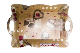 Vivenzi Taca z melaminy 45 x 31 cm SHABBY pofalowana