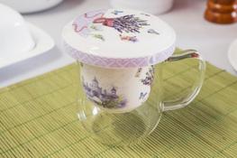 Szklany kubek z porcelanowym zaparzaczem 350 ml
