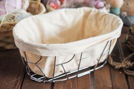 KOOPMAN Koszyczek metalowy na chleb z materiałem 28 cm