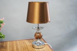 Lampka nocna elektryczna z okrągłym kloszem srebrna