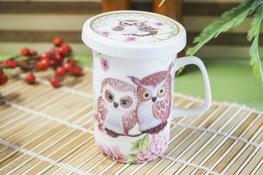 DUO OWLS Porcelanowy kubek z zaparzaczem 320 ml