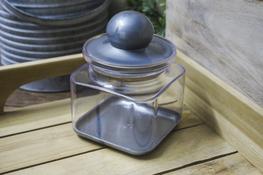 Pojemnik kwadratowy 0.6 L srebrny
