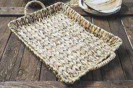 KOOPMAN Taca prostokątna, koszyk z trawy morskiej 46 x 34 cm z uchwytami