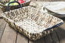 KOOPMAN Koszyk prostokątny z trawy morskiej 37 x 27 cm z met. uchwytami