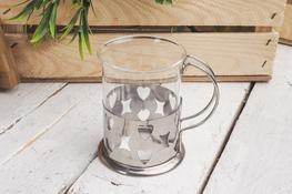 Szklanka 200 ml w metalowym koszyczku