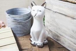 Figurka ceramiczna dekoracyjna kot h - 24.5 cm biały
