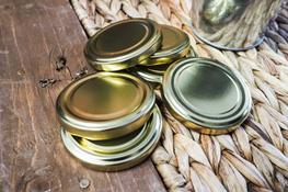 Zakrętka do słoika, wieczko metalowe, złote 6.6 cm 4 zaczepy 10 sztuk
