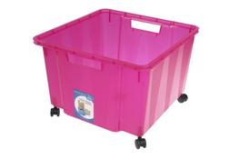 KON-PLAST Pojemnik uniwersalny na kółkach różowy