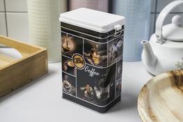 Puszka prostokątna Coffee h- 19.5 cm z klipsem