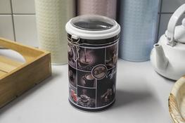 Puszka okrągła Coffee h- 19 cm z klipsem