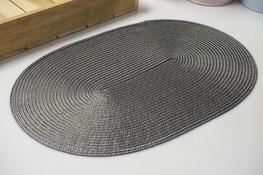 Mata stołowa owalna 43.5 x 29 cm szara