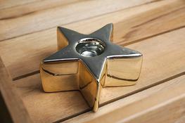 Świecznik ceramiczny gwiazdka h - 3.5 cm złoty