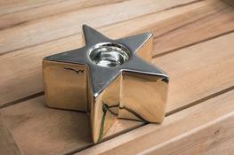Świecznik ceramiczny gwiazdka h - 4.5 cm złoty