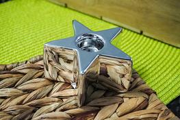 Świecznik ceramiczny gwiazdka h - 4.5 cm srebrny
