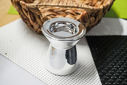 Świecznik ceramiczny okrągły h - 7.5 cm srebrny