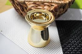 Świecznik ceramiczny okrągły h - 7.5 cm złoty