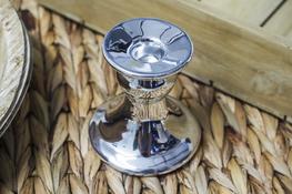 Świecznik ceramiczny okrągły h - 8.5 cm srebrny