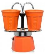 BIALETTI Mini Express Color 2 TZ zestaw kawiarka + 2 filiżanki pomarańczowy