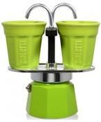 BIALETTI BIALETTI Mini Express Color 2 TZ zestaw kawiarka + 2 filiżanki zielony
