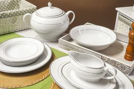 BGH PORCELANA BOGUCICE Serwis obiadowy 42/12 New Hollis Platin