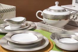 BGH PORCELANA BOGUCICE Serwis obiadowy 25/6 Opal Platin