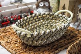 KOOPMAN Koszyk owalny z trawy morskiej 32x20 cm z uchwytami