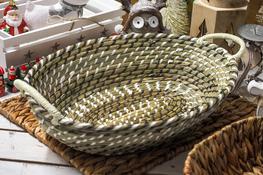 KOOPMAN Koszyk owalny z trawy morskiej 43x32 cm z uchwytami