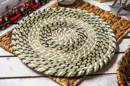 KOOPMAN Mata stołowa okrągła z trawy morskiej 37 cm