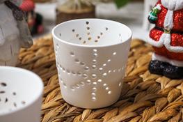 KOOPMAN Świecznik ceramiczny ażurowy, biały - mix wzorów