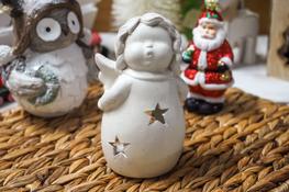 KOOPMAN Świecznik ceramiczny anioł mix wzorów