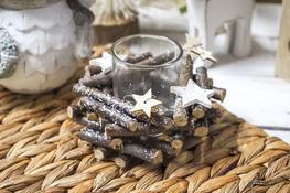 KOOPMAN Stroik świąteczny ze świecznikiem d- 5 cm